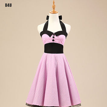50s 60s Dresses Pink Women Summer Dress Short Rockabilly Swing Retro Vintage Dress Housewife Pin Up Rock Girl Dot Dress VD0146