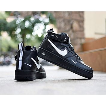 NIKE AIR FORCE 1 MID 07 Tide brand simple version OW high-top sports shoes black