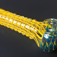 Yellow and Blue Ribbed Glass Spoon Pipe