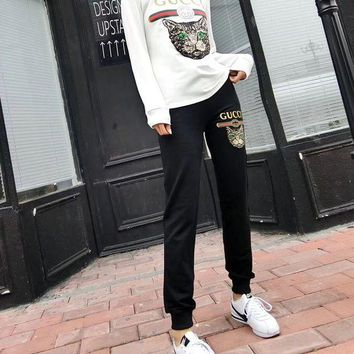 ONETOW Gucci' Women Casual Fashion Letter Print Embroidery Sequin Cat Head Long Sleeve Trousers Set Two-Piece Sportswear
