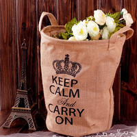 Home Decor Home Storage Bags Cotton Linen Gifts Crown Pattern Storage Bin [6283598342]