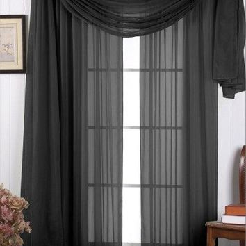 Black 54x84 Panel Solid Sheer Window Treatment