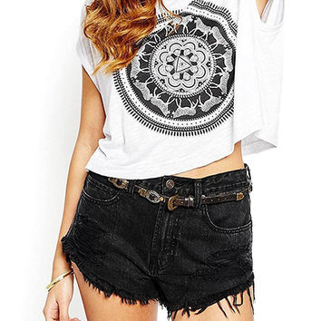 Cropped T-Shirt With Motif