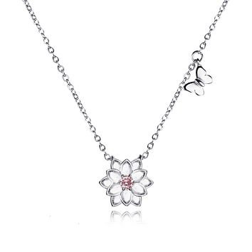Ariella Lotus Flower Butterfly Necklace, Yoga Jewelry Gifts, 925 Sterling Silver
