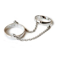 Made Her Think Silver Double Band Chain Ring