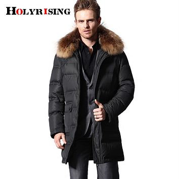 Thickening plus-size High-end casual waterproof and fine men down jacket 80% goose down 600 fill power