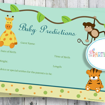 Safari Baby Shower Game Printable Baby Prediction by thepartystork