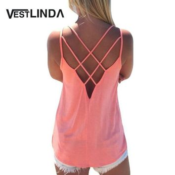 Summer 2017 Sexy Women Tank Top Ladies Camisole Sleeveless Strap Vest Backless Tops Solid Criss Cross Loose Feminino Crop Top