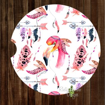 Flamingo with Feathers and Arrows Sandstone Car Coaster
