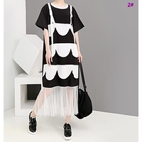 Summer fashion women's age black and white color matching loose large size dress