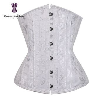 Jacquard 26 Spiral Steel Boned Corset Under Bust Bustiers Tight Lacing Plus Size 3XL-6XL