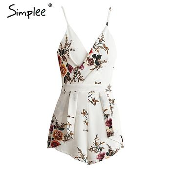Simplee Deep V sexy women jumpsuit romper beach summer bodysuit Elegant backless club print short overalls catsuit leotard