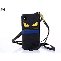 Fendi tide brand men and women card leather iphone7 mobile phone case cover #4