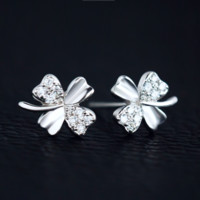Personality lucky clover 925 Sterling Silver Earrings, a perfect gift