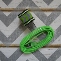 New Super Cute Jeweled Lime Green & White Chevron Designed Wall iphone 5,5s Charger + 10ft Neon Green Cable Cord VALENTINES DAY