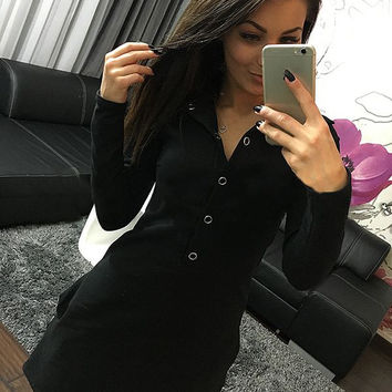 Women's Summer Style Long Sleeve Black Button Shirt Dress