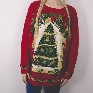 Vintage Tree Ugly Christmas Sweater