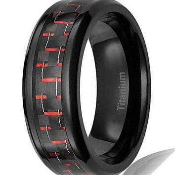 CERTIFIED 8MM Mens Titanium Ring Black Plated with Black and Red Carbon Fiber Inlay