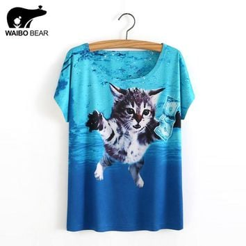 New Casual Summer Women T Shirts Cat Dog Animal 3D Print Letter Retro Pattern Funny Female Shirt Short Sleeve