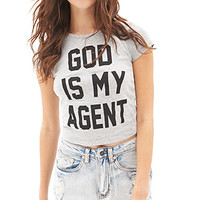 FOREVER 21 God Is My Agent Tee Grey/Black