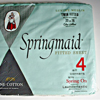 Springmaid Twin Fitted Sheet  Launderlastic Mint Green In Original Package Vintage New Old Stock NIP