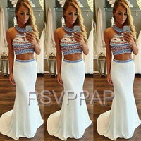 Sexy Two Piece Prom Dresses 2017 Off the Shoulder Colorful Crystals Stretch Satin Girl Mermaid White Long Elegant Prom Dress
