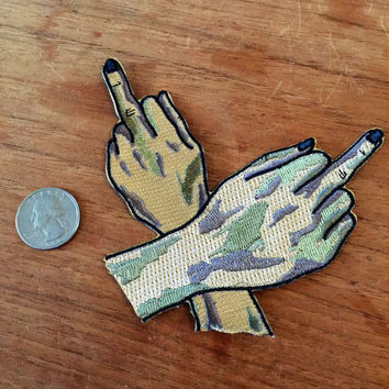 "Sarah Rafter double middle fingers zombie witch hands 3"" embroidered patch"