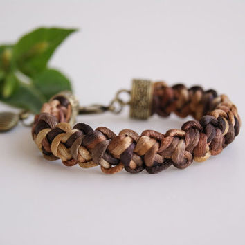 Brown Shades Handwoven Bracelet - Crocheted Satin Cord Bracelet. Men Bracelet.