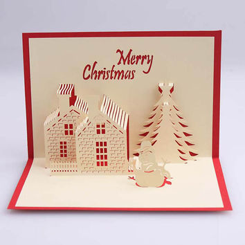 3D Pop Up Handmade Christmas Tree House Happy New Yea Beautiful Greeting Card