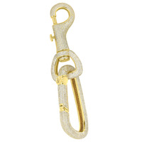 Lock Key Chain Pendant Iced Out 18K Gold Finish Brand New Simulated Diamonds
