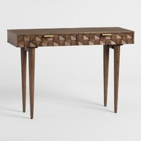 Geometric Carved Wood Ashford Console Table