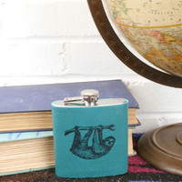 *Customizable* Sloth Leather Hip Flask