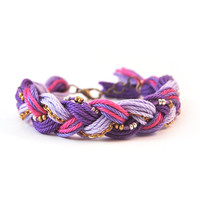Purple bracelet, braid bracelet with chain, friendship bracelet
