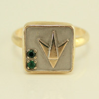 Vintage Handmade 14k Yellow Gold Fluor Corp Pin Converted to Ring