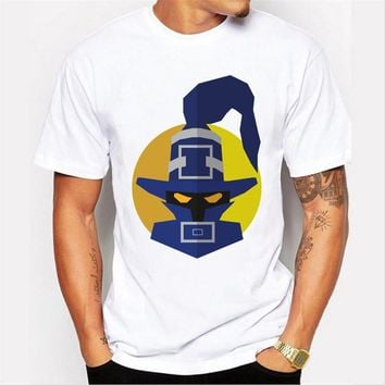 The new men 's fashion high - quality leisure masked warrior pattern printed short - sleeved round neck white t - shirt
