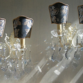 Pair of Vintage Italian Painted Bronze 2 Arm Crystal Wall Sconces with Blue Fortuny Clip On Lamp Shades - Handmade in Italy