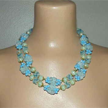 Vintage 50s Necklace | 1950s Unique Double Strand Necklace | Blue Green Iridescent Bead Clusters | Hong Kong