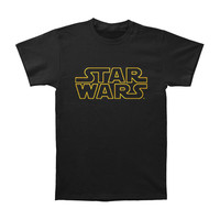 Star Wars Men's  Logo Outline T-shirt Black Rockabilia