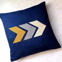 Custom Color. Modern Arrows Navy Decorative Pillow Cover. 17inch Chevron Navy Cushion Cover. New Home Living Room Lounge Decor Pillow Case