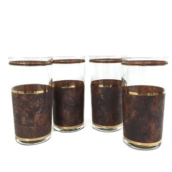 Four Culver Tortoise Cocktail Glasses Brown Marble and Gold