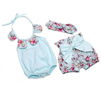 Newborn Baby Girls Clothes Summer Cotton Flower Girl Rompers+Short Pant+Girls Headbands Ruffled Newborn Baby Toddler Clothing