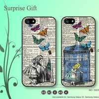 iPhone 5 case iPhone 5c case iPhone 5s case iPhone 4 case iPhone 4s case, iPhone case, Phone case Alice Wonderland and Doctor Who, --S023