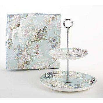 Blue Camellia 2 Tier Cake Stand - Gift Boxed