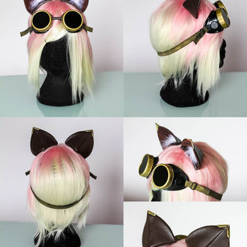 Steampunk cat ears ( Nekomimi ) customizable steampunk  cosplay nekochii ears