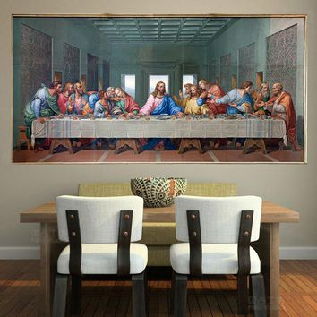 Large Famous Print Canvas Painting The Last Supper Leonardo Da Vinci Wall Pictures For Living Room kitchen Room Unframed