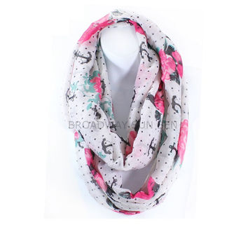 Anchor Rose Infinity Scarf Lightweight
