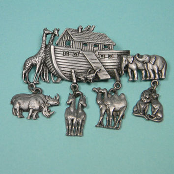 JJ Noah's Ark Brooch or Pin with Dangles, Pewter Tone, Signed 80s Vintage