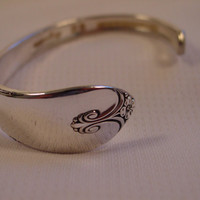 A Spoon Rings Plus Spoon Cuff Bracelet Exquisite Pattern Antique Spoon Jewelry c15