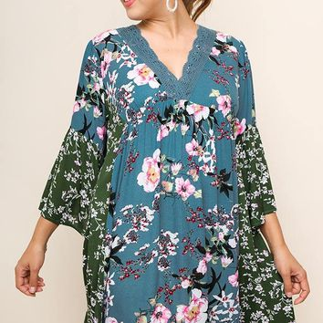 Pre-Order Umgee Plus Size Babydoll Floral Dress