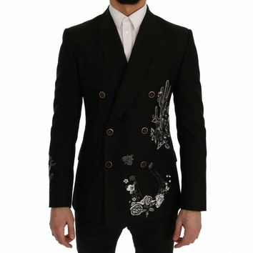 Dolce & Gabbana Black Floral Sequined Embroidery Blazer Jacket